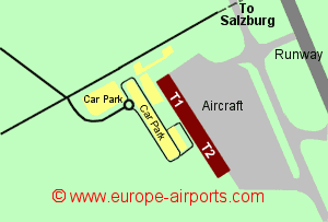 Map of Salzburg airport showing access roads and location of car parks