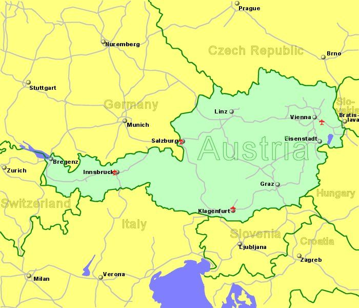 Austria Airports Flights To Austria From The UK Or Ireland - Graz austria map