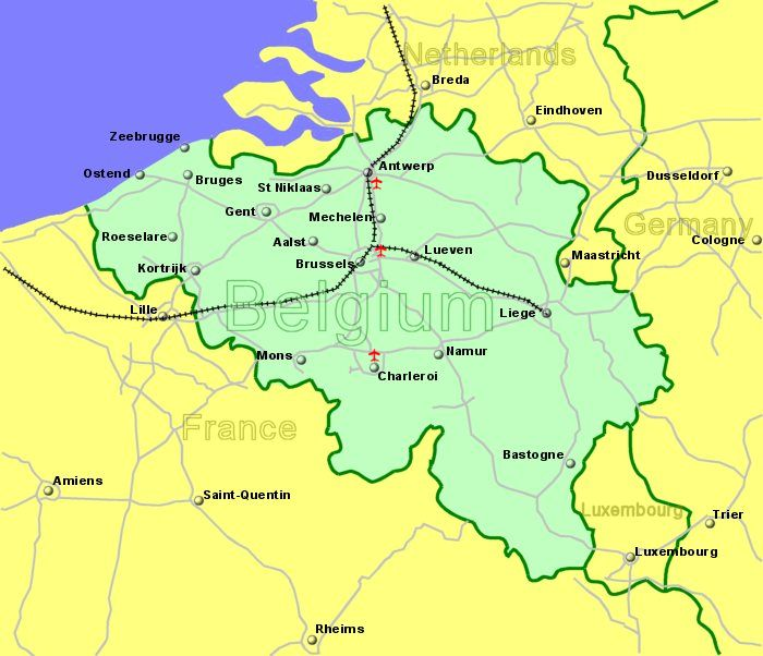 airports in belgium map Large Clickable Map Of Belgium Airports airports in belgium map