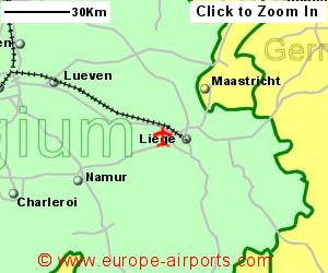 map showing location of liege airport belgium