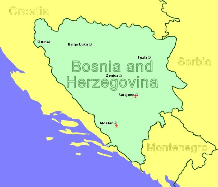Bosnia And Herzegovina Airports With Flights From The UK And Ireland - Bosnia and herzegovina map
