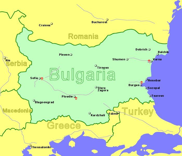 Large Clickable map of Bulgaria Airports