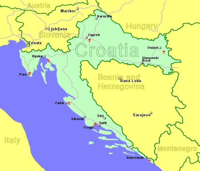 Croatia airports flights to croatia from the uk or ireland large map of croatia showing all airports with scheduled flights from the uk or ireland gumiabroncs Images