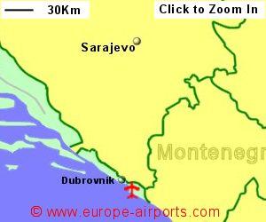 Dubrovnik airport croatia dbv guide flights map showing location of dubrovnik airport croatia publicscrutiny Choice Image