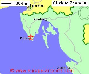 Pula airport croatia puy guide flights map showing location of pula airport croatia publicscrutiny Choice Image