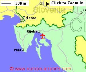 Rijeka airport croatia rjk guide flights map showing location of rijeka airport croatia publicscrutiny Choice Image
