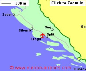Split airport croatia spu guide flights map showing location of split airport croatia publicscrutiny Choice Image