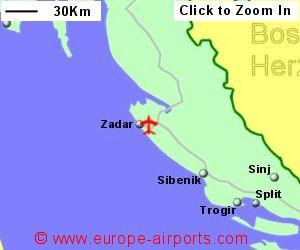 Zadar airport croatia zad guide flights map showing location of zadar airport croatia publicscrutiny Choice Image