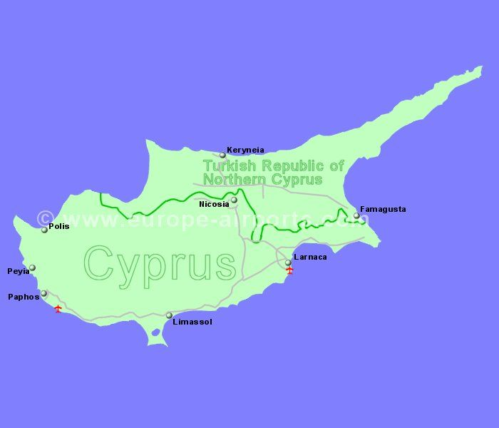 Cyprus Airport Flights To Cyprus From The UK And Ireland - Cyprus map with airports
