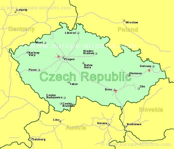 Large Clickable Map Of Czech Republic Airports - Czech republic map