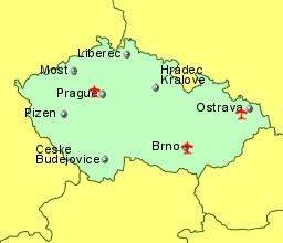 Czech Republic Airports Flights To The Czech Republic From The - Czech republic map