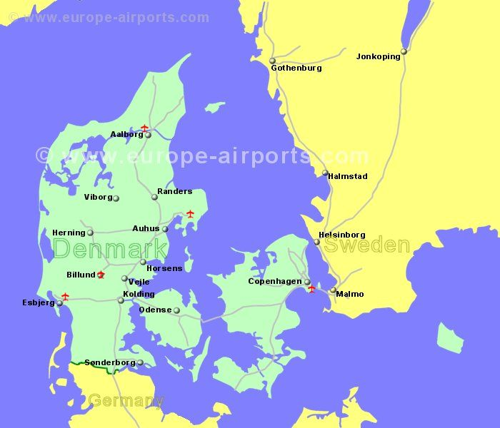 Denmark airports flights to denmark from the uk or ireland large map of denmark showing all airports with scheduled flights from the uk or ireland gumiabroncs