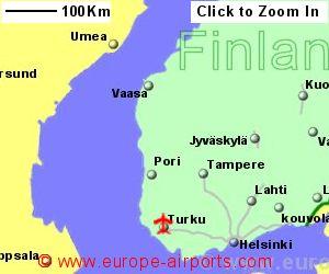 Turku airport finland tku guide flights map showing location of turku airport finland sciox Image collections