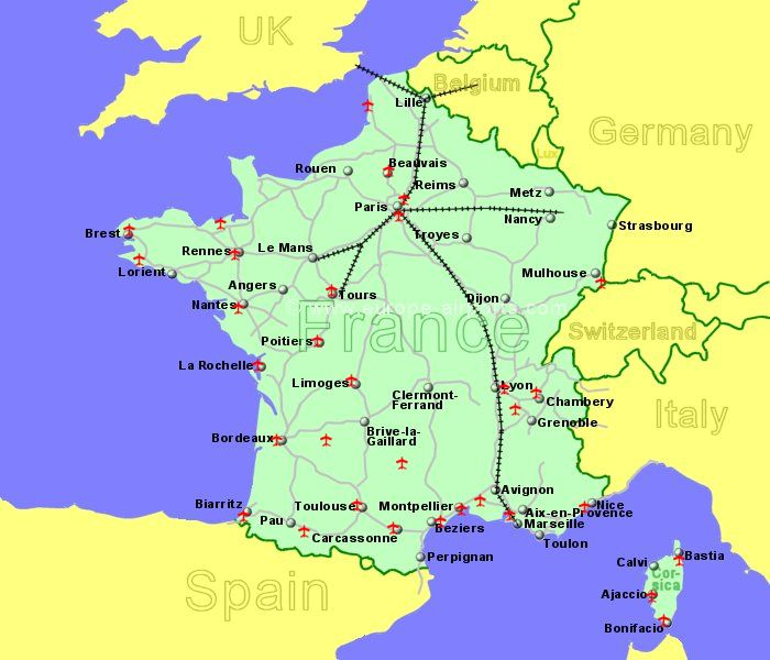 France airports flights to france from the uk or ireland large map of france showing all airports with scheduled flights from the uk or ireland gumiabroncs