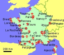 Map Of France And Corsica.France Airports Flights To France From The Uk Or Ireland