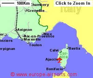 Map Of France Showing Airports.Ajaccio Corsica Napoleon Bonaparte Airport France Aja Guide