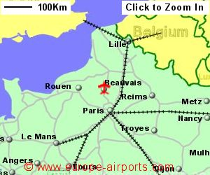 map showing location of paris beauvais till airport france