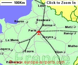 map showing location of paris airport france
