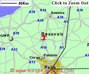 detailed map showing location of paris beauvais till airport france