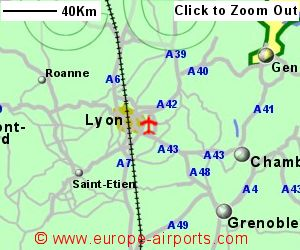 Map Of France Showing Lyon.Lyon Saint Exup Ry International Airport France Lys Guide