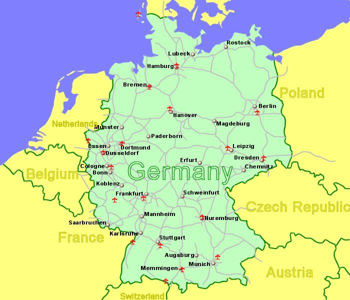 large map of germany showing all airports with scheduled flights from the uk or ireland