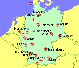 map of germany showing location of airports
