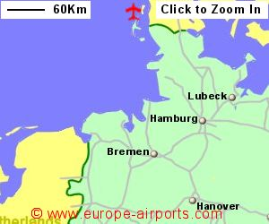 map showing location of sylt airport germany