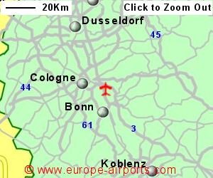 detailed map showing location of cologne bonn airport germany