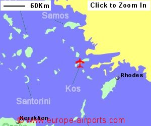 Kos island international hippocrates airport greece kgs map showing location of kos island international airport greece gumiabroncs Choice Image