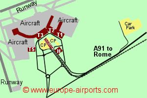 Rome Fiumicino Leonardo Da Vinci International Airport Italy - Rome map with airports