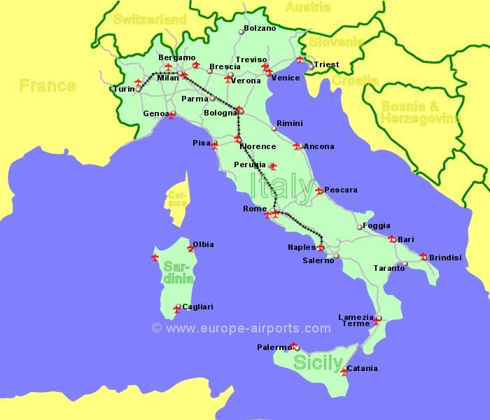 Airports In Italy Sicily And Sardinia Guide Flights - Airport map of northeast coast of us