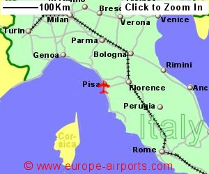 Pisa galileo galilei airport italy psa guide flights map showing location of pisa airport italy gumiabroncs Choice Image