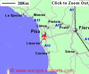 Pisa galileo galilei airport italy psa guide flights detailed map showing location of pisa airport italy gumiabroncs Choice Image