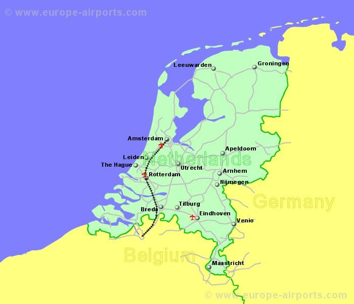 Airports In The Netherlands Or Holland Guides Flights - Netherlands map
