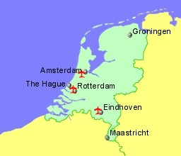 Cheap weekend getaway Netherlands map airport