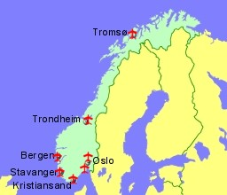 map of norway showing location of airports