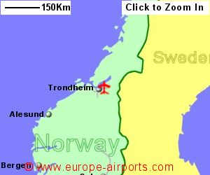 Trondheim Vaernes Airport Norway TRD Guide Flights - Norway map with airports