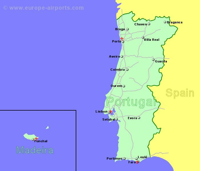 Large Clickable Map Of Portugal Airports - Portugal map with airports