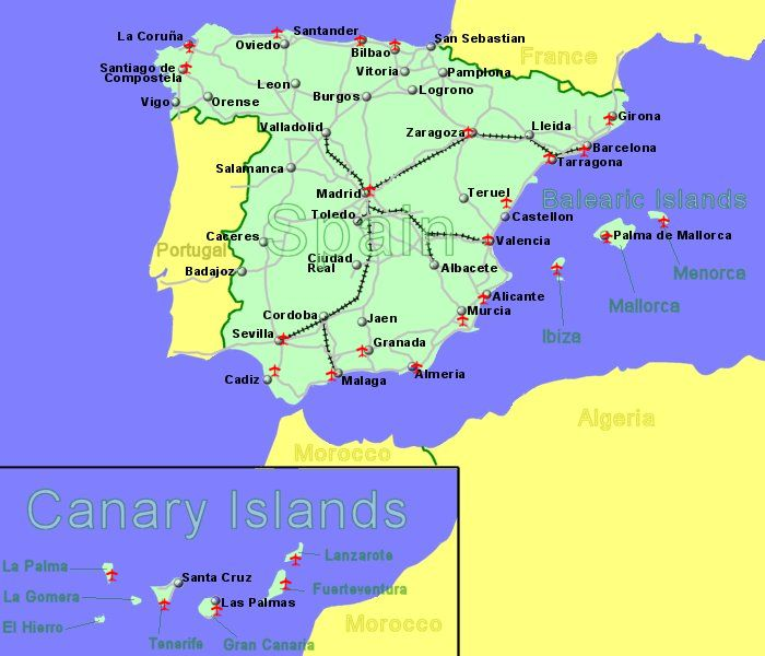 large map of spain showing all airports with scheduled flights from the uk or ireland