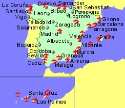 map of spain showing location of airports