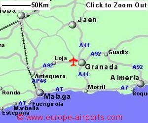 Map Of Spain Showing Airports.Granada Federico Garcia Lorca Granada Jaen Airport Spain Grx