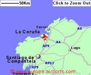 Map Of Spain La Coruna.La Coruna Airport Spain Lcg Guide Flights