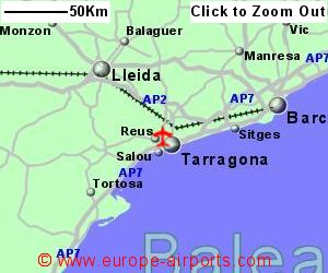 Map Of Spain Showing Salou.Reus Airport Spain Reu Guide Flights