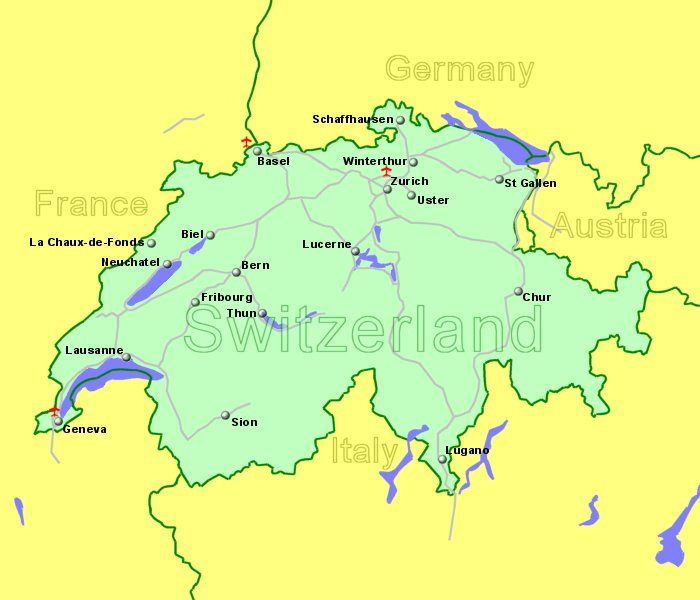 Map Of Germany And Switzerland.Airports In Switzerland With Flights From The Uk And Ireland