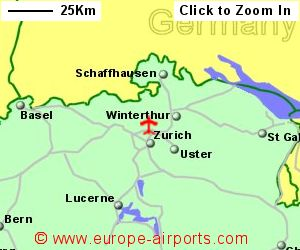 Zurich airport switzerland zrh guide flights map showing location of zurich airport switzerland gumiabroncs Gallery
