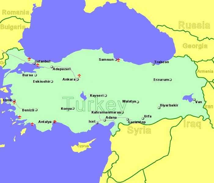 Large Clickable Map Of Turkey Airports - Map of turkey