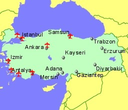 map of turkey showing location of airports