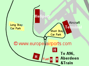 Map of Aberdeen airport showing access roads and location of car parks