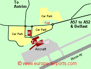 Map of Belfast airport showing access roads and location of car parks