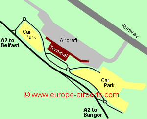 Map of Belfast City airport showing access roads and location of car parks